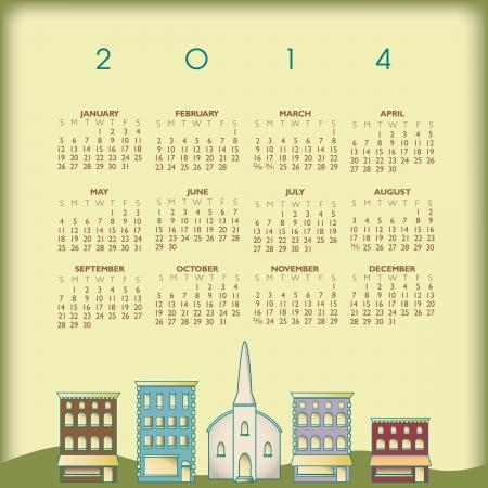 2014 Creative Small Town Calendar for Print or Web