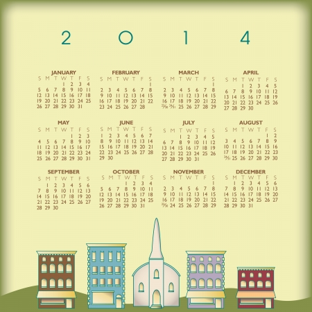 2014 Creative Small Town Calendar for Print or Web
