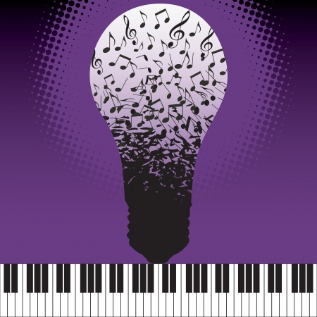 Musical ideas spring fourth from the keyboard in this vector background