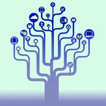 Abstracte technologie boom achtergrond met pictogrammen voor web of print Stockfoto - 23654829