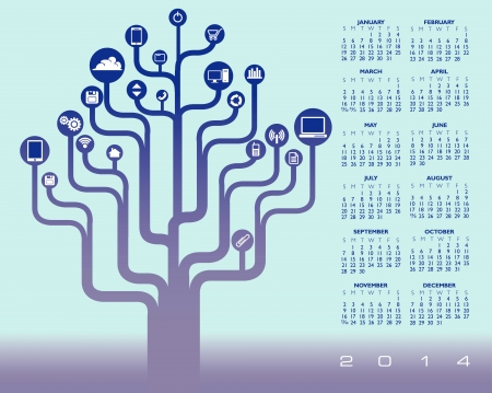 2014 Creative Calendar for Print or Web  Ilustrace