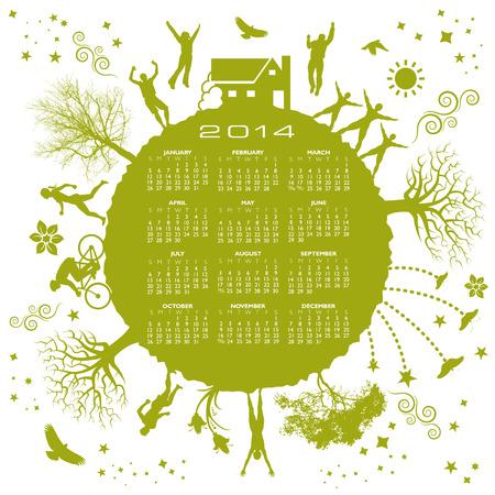2014 Green Calendar for Print or Web  Vector