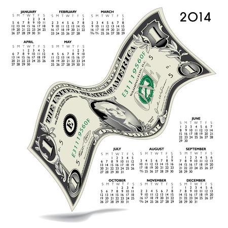 2014 Creative Financial Calendar for Print or Web Stock Vector - 23661635