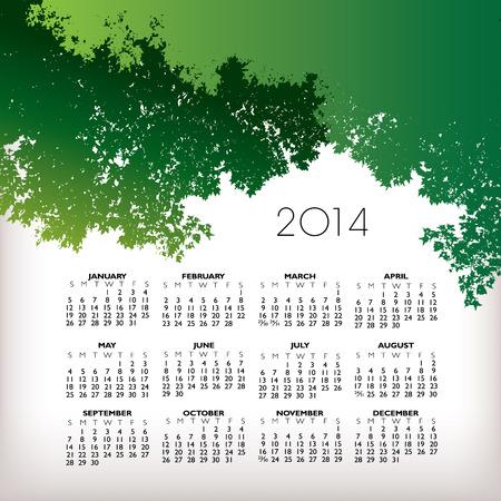 scheduler: 2014 Creative Landscape Calendar for Print or Website  Illustration