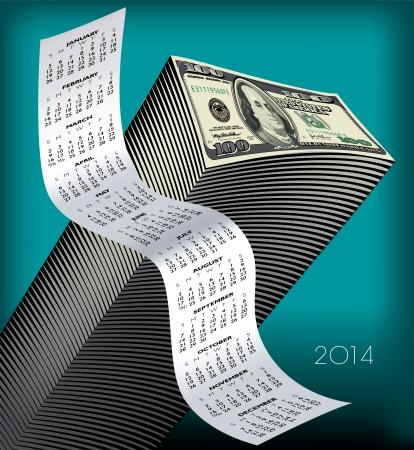 2014 Creative Financial Calendar for Print or Web  Vector