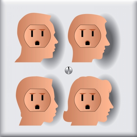 Four People Who are Ready to get Plugged in Ilustração
