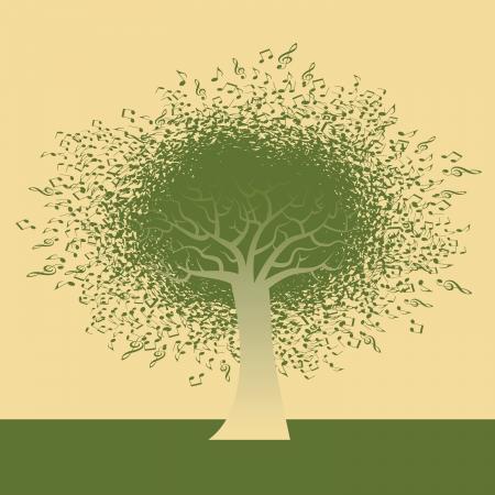 Abstracte muzikale noot Boom illustratie voor web of print Stock Illustratie