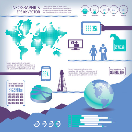 representations: Illustrated set of global business info-graphics with communication theme