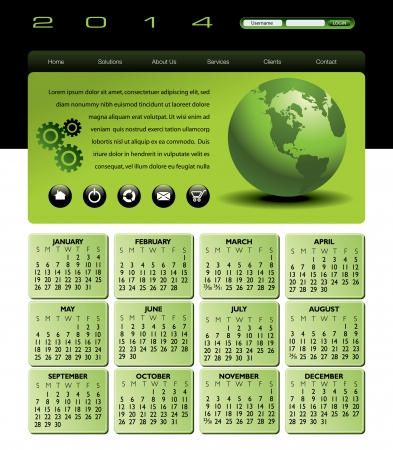 Web Template with 2014 Calendar in green  Vector
