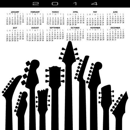 2014 Creative Guitar Calendar for Print or Web