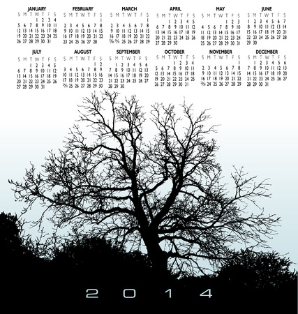event planner: 2014 Creative Tree Calendar for Print or Web Illustration