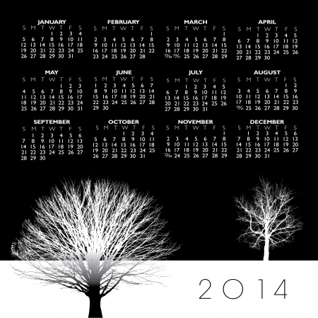 2014 Creative Tree Calendar for Print or Web Vector