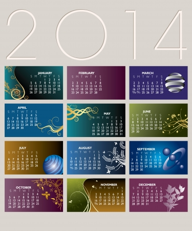 2014 Creative Calendar with backgrounds for 12 Business cards Illustration