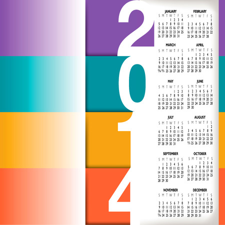 2014 Infographic Style Calendar for Home, Office or Website  Vector