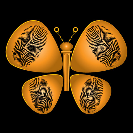 plectrum: Guitar Picks and String Peg Butterfly Illustration