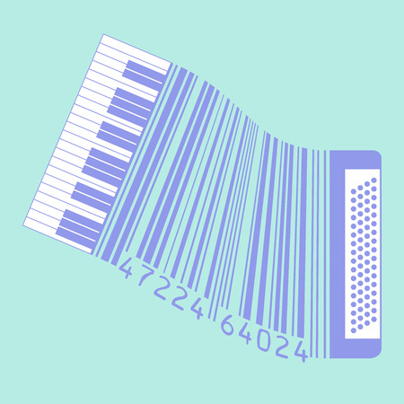 accordion: This accordion is also a UPC code for Print or Web  Illustration