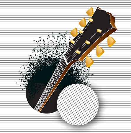 A guitar pops out of a hole as notes rush out
