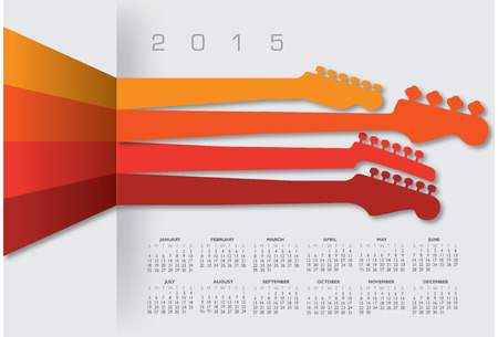 An abstract 2015 music calendar for Print or Web Illustration