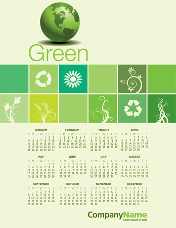 event planner: A 2015 Green Environmental Calendar for Print or Web