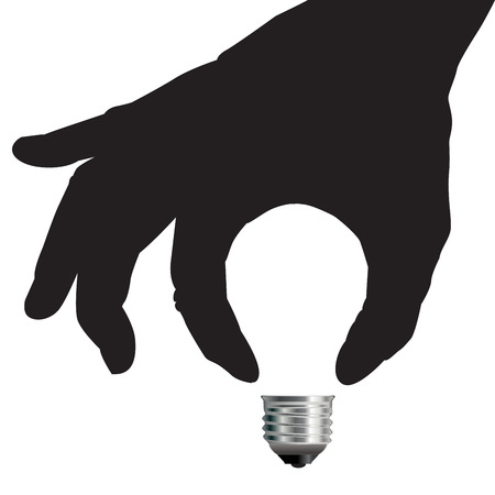 fingertip: Light Bulb Idea Concept with Hand for Print or Web