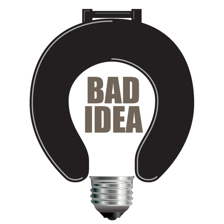 bad idea: Light Bulb Bad Idea Concept with Toilet Seat for Print or Web