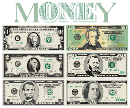 50 dollar bill: Six detailed, Stylized drawings of Bills for Print or Web