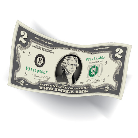 A Detailed, Stylized Drawing of a 2 Dollar Bill