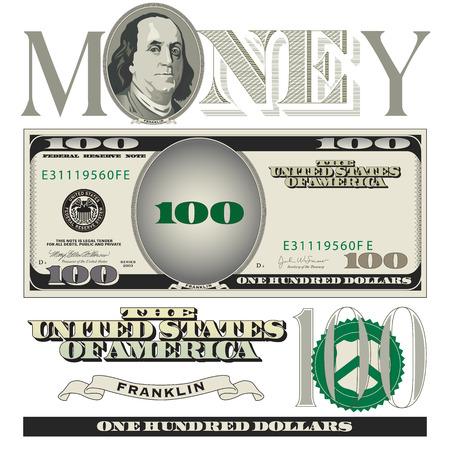 Miscellaneous 100 dollar bill elements Stock Illustratie