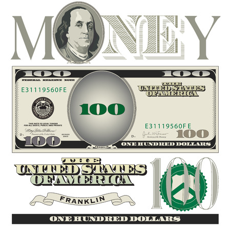 Miscellaneous 100 dollar bill elements Illustration