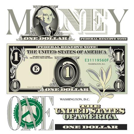 Miscellaneous one dollar bill elements Stock Illustratie