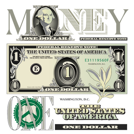 Miscellaneous one dollar bill elements Иллюстрация