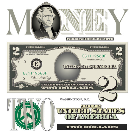 two: Miscellaneous two dollar bill elements Illustration