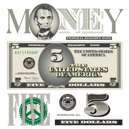 Miscellaneous five dollar bill elements