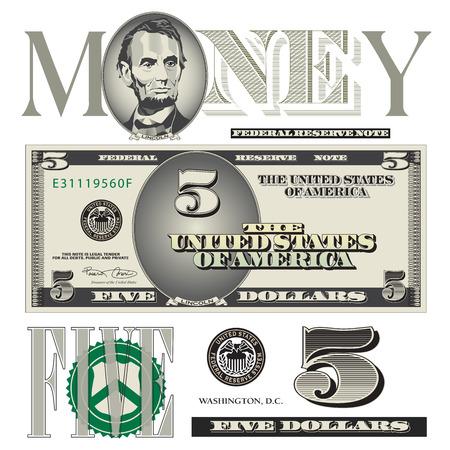 Miscellaneous five dollar bill elements