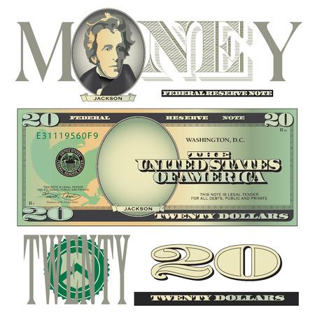 Miscellaneous twenty dollar bill elements
