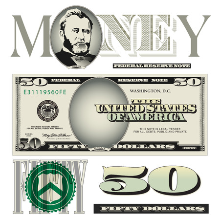 Miscellaneous twenty dollar bill elements