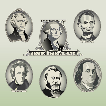 president of the usa: Presidential oval bill elements Illustration