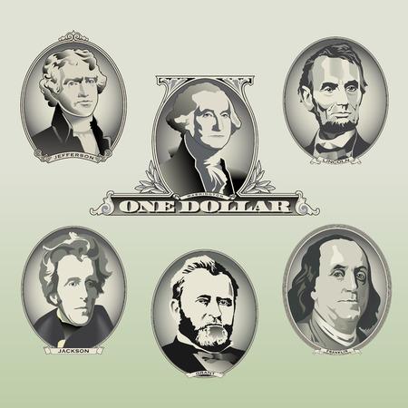 five dollars: Presidential oval bill elements Illustration