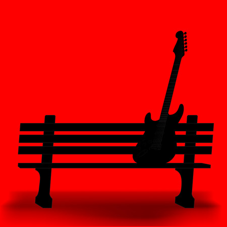 park bench: Guitar on a park bench music background