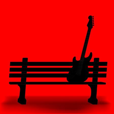 banco parque: Guitarra en un fondo m�sica parque banco