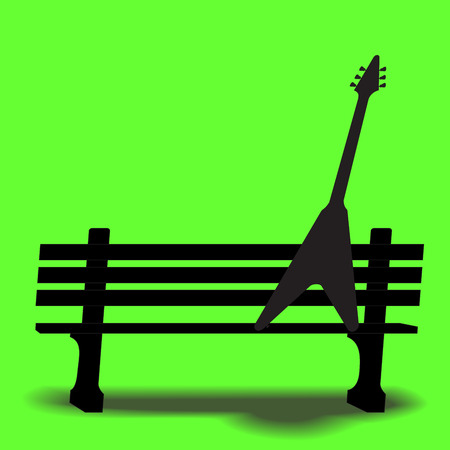 jazz guitar: Guitar on a park bench music background