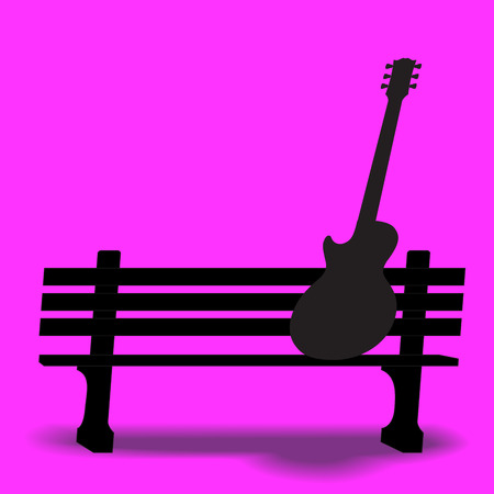Guitar on a park bench music background