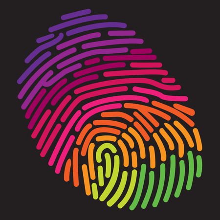 rainbow print: A stylized rainbow fingerprint Illustration