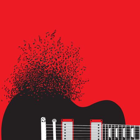 抽象的なギター、音楽背景イラスト