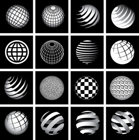 Sixteen Globes in Black and White for Print or Web