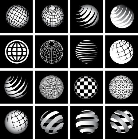 Zestien Globes in Zwart-wit voor Print of Web