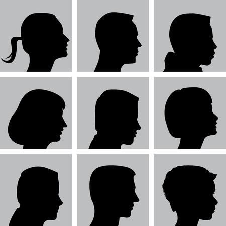 Set van Cameo Silhouetten voor Print of Web