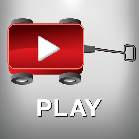 free clip art: A Play Movie Button that is also a Little Red Wagon Illustration