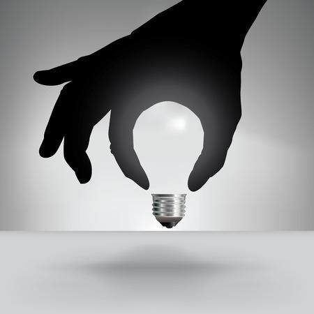 Concetto Idea lampadina con la mano Archivio Fotografico - 38482417