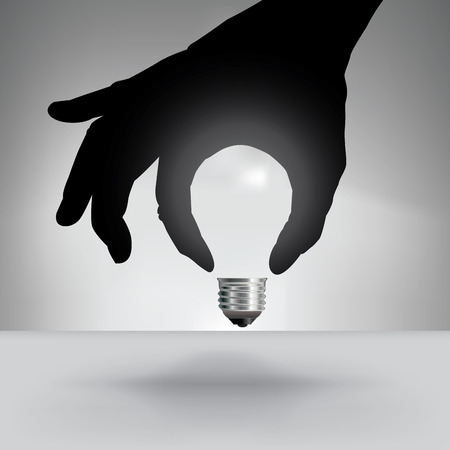 Light Bulb Idea Concept with Hand